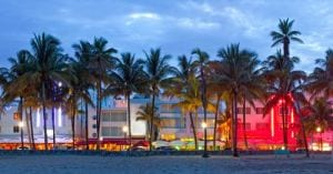 Miami Beach, Florida  hotels and restaurants at sunset